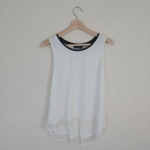 Astr Silk White & Black Tank Top